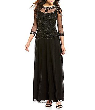 Pisarro Nights Illusion Beaded Mock Two Piece Gown