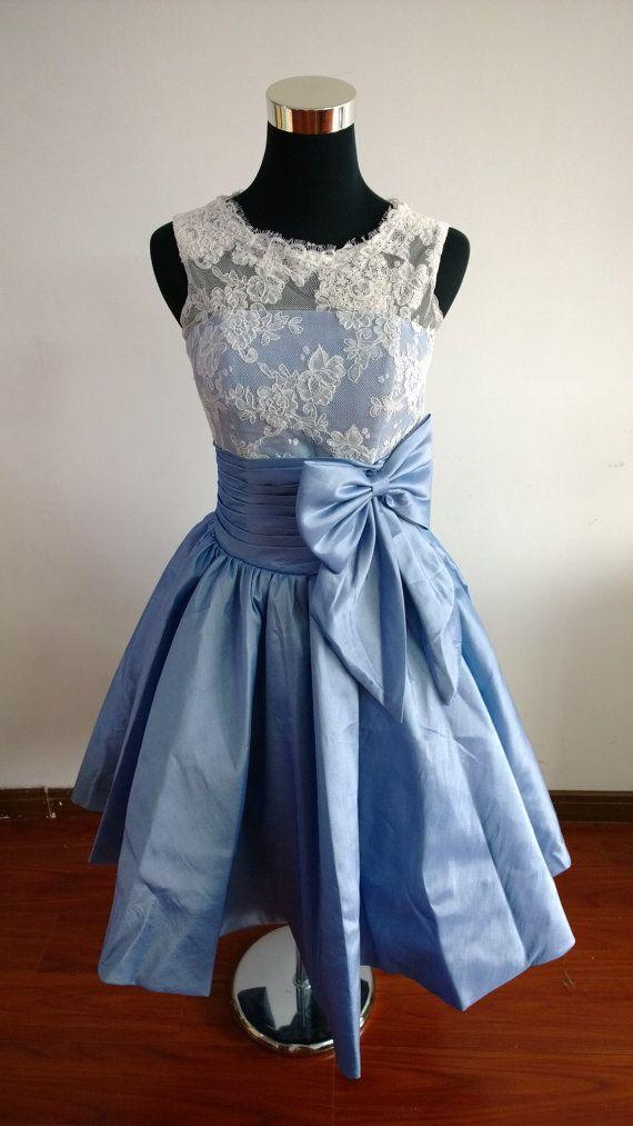 Vintage Taffeta Lace wedding dress blue bridesmaid dress lace dress ...