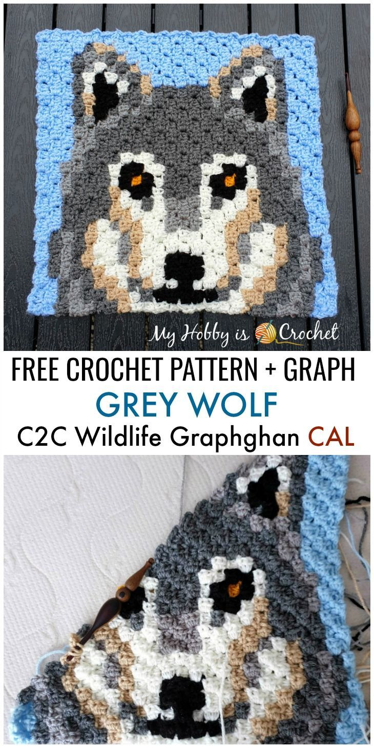 Free Crochet Pattern + Graph: Grey Wolf C2C Square - Wildlife Graphghan CAL Block 6 #c2cbabyblanket