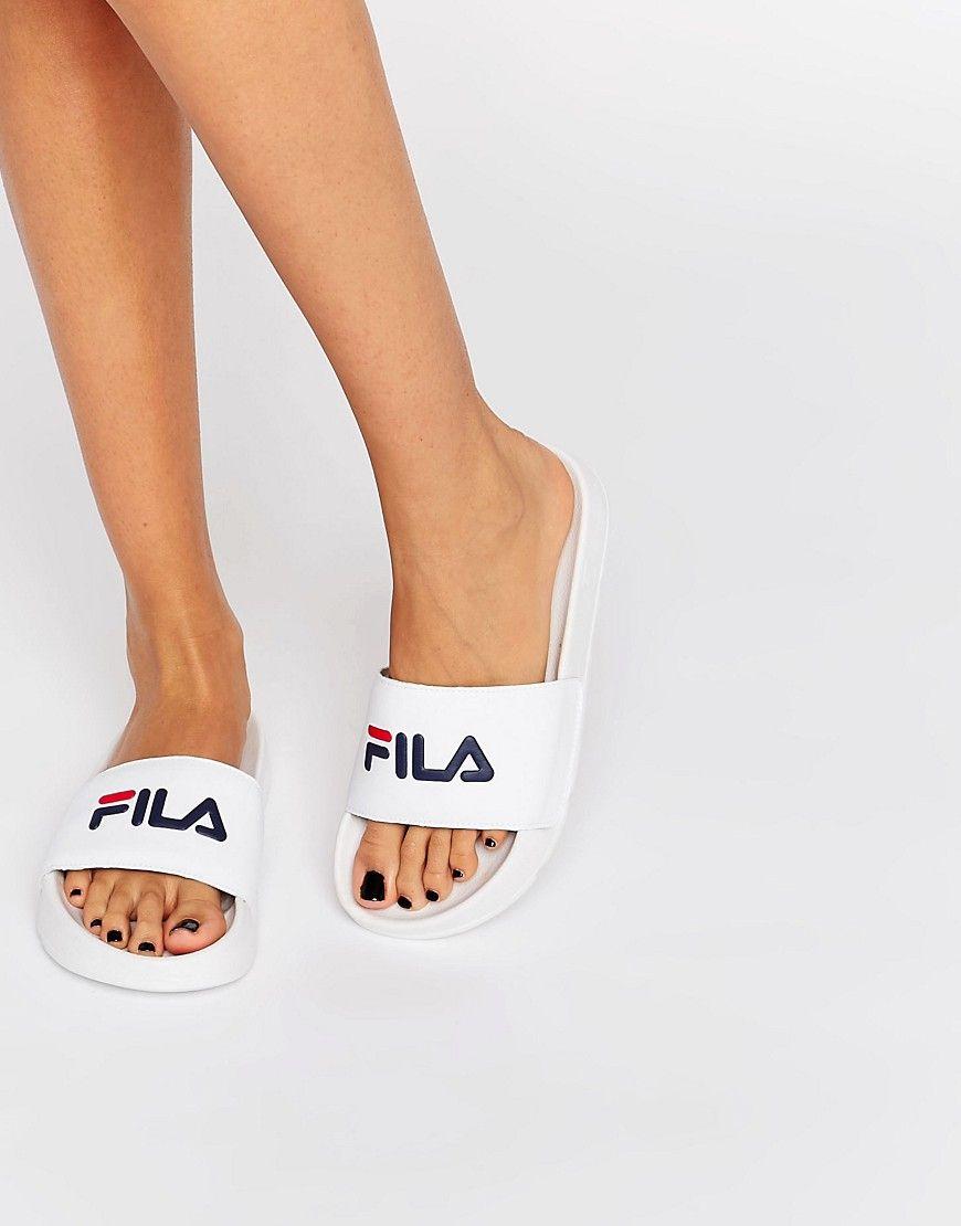 38ace9bbba3b FILA DRIFTER LOGO SLIDERS - WHITE.  fila  shoes