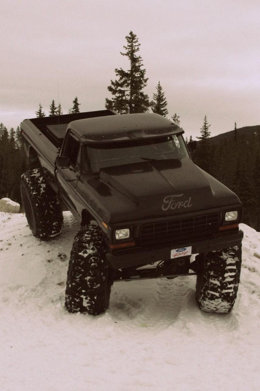 Classic ford truck in the snow not a ford fan but this is badass