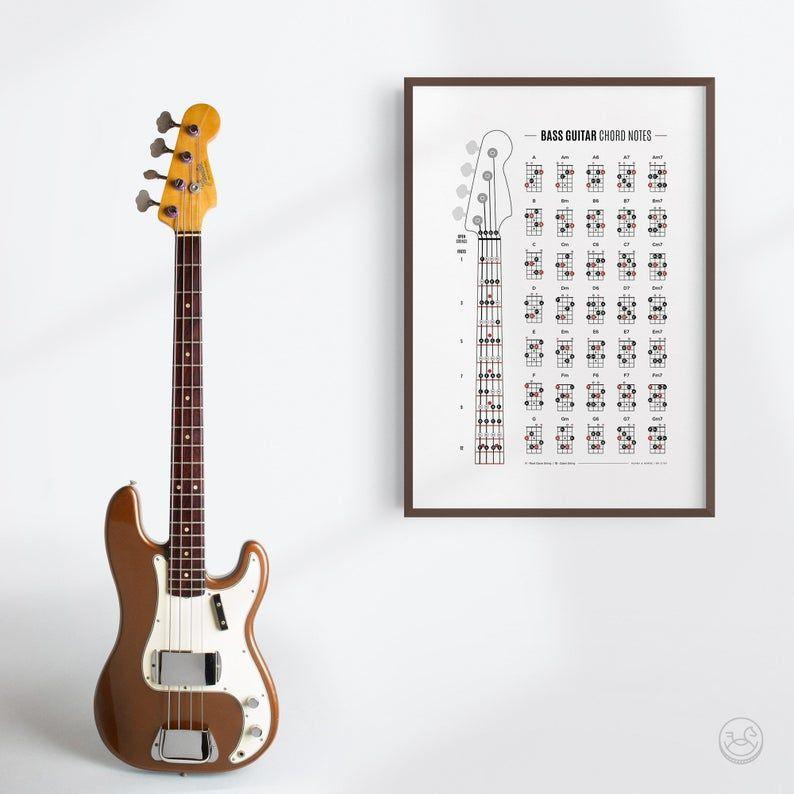 Bass Guitar Chord Notes & Fretboard Poster, Bass Chords