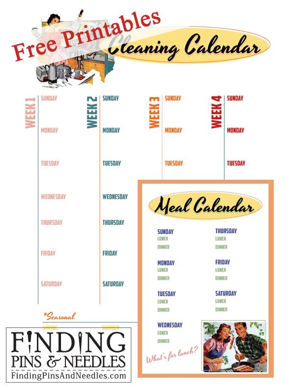 Finding Pins and Needles *FREE* Printable Cleaning  Meal Calendars