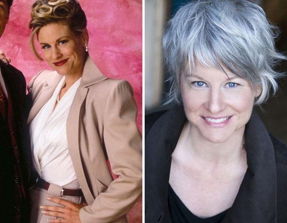 tousled silver hair-she's beautiful both ways but her face is lit up with the silver gray grey hair