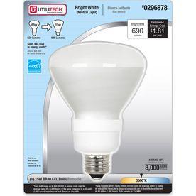 Utilitech 15 Watt 65w Br30 Medium Base Bright White