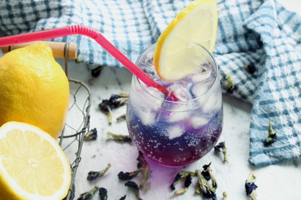 Blue butterfly pea lemonade recipe with images