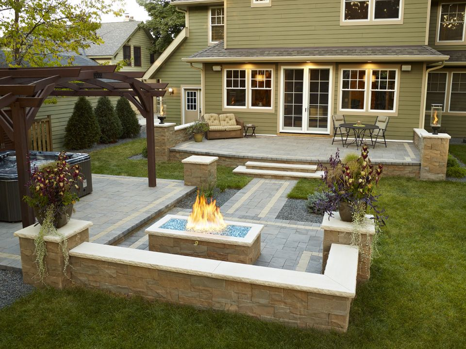 Design Hot Tub In Patio To Blend The Freshness And Warmth: Warm Outdoor  Fireplace Designed