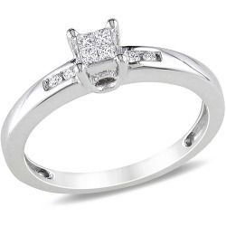 Buy Miabella 1/8 Carat T.W. Princess and Round Diamond Engagement Ring in Sterling Silver online - Surprise your fiance and show your eternal love with the 1/8 Carat T.W. Princess and Round Diamond Engagement Ring. She will love the glittering white princess and round diamonds in the ring. Furthermore the polished silver setting adds to the beauty of this well-crafted...