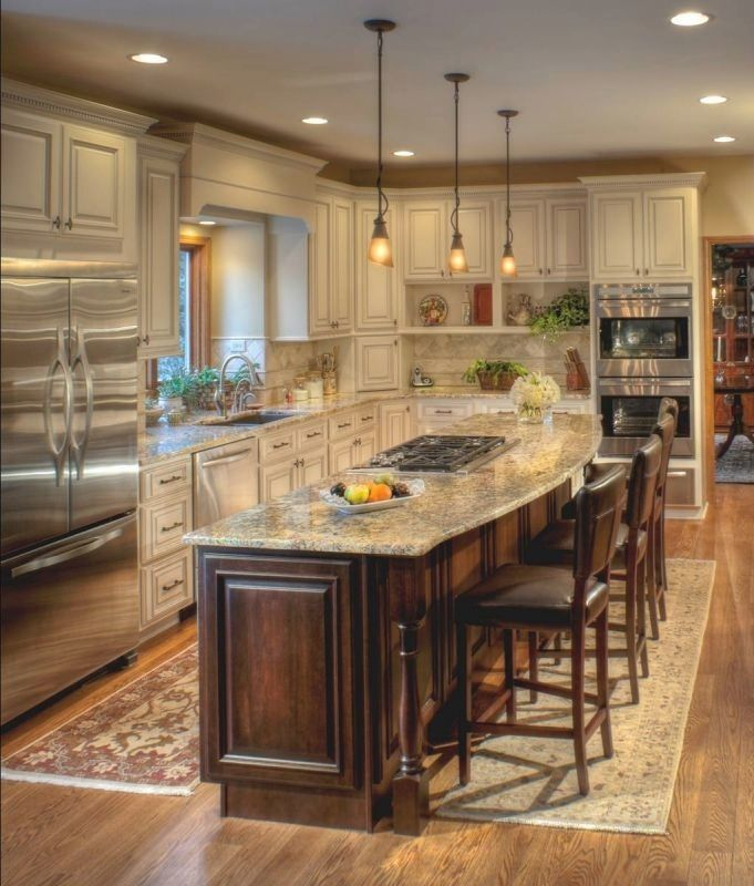 Ivory Glazed Kitchen Cabinets: Like The Contrast Of Wood Island With Ivory Cabinets