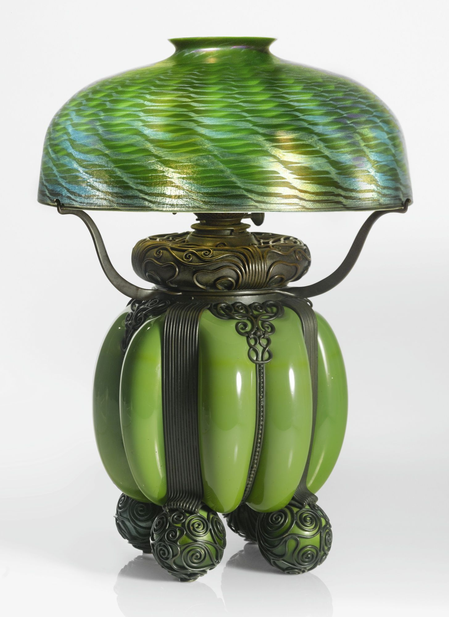 Tiffany Studios An Early And Rare Kerosene Table Lamp