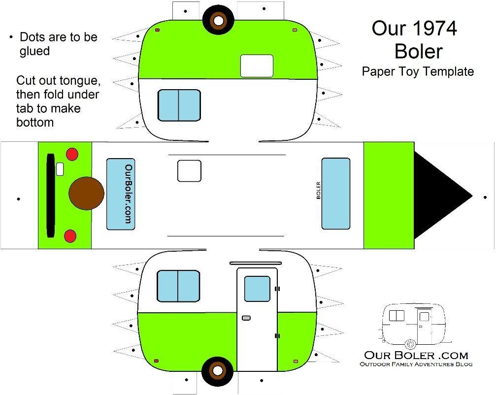 boler trailer paper toy template color Paper toys