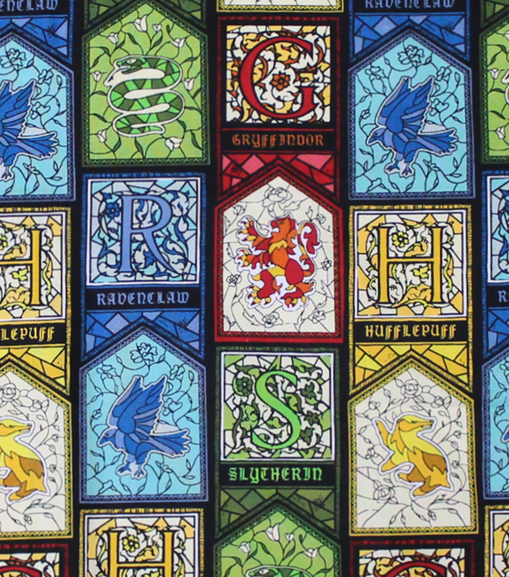 Harry Potter Cotton Fabric Stained Glass Houses | JOANN