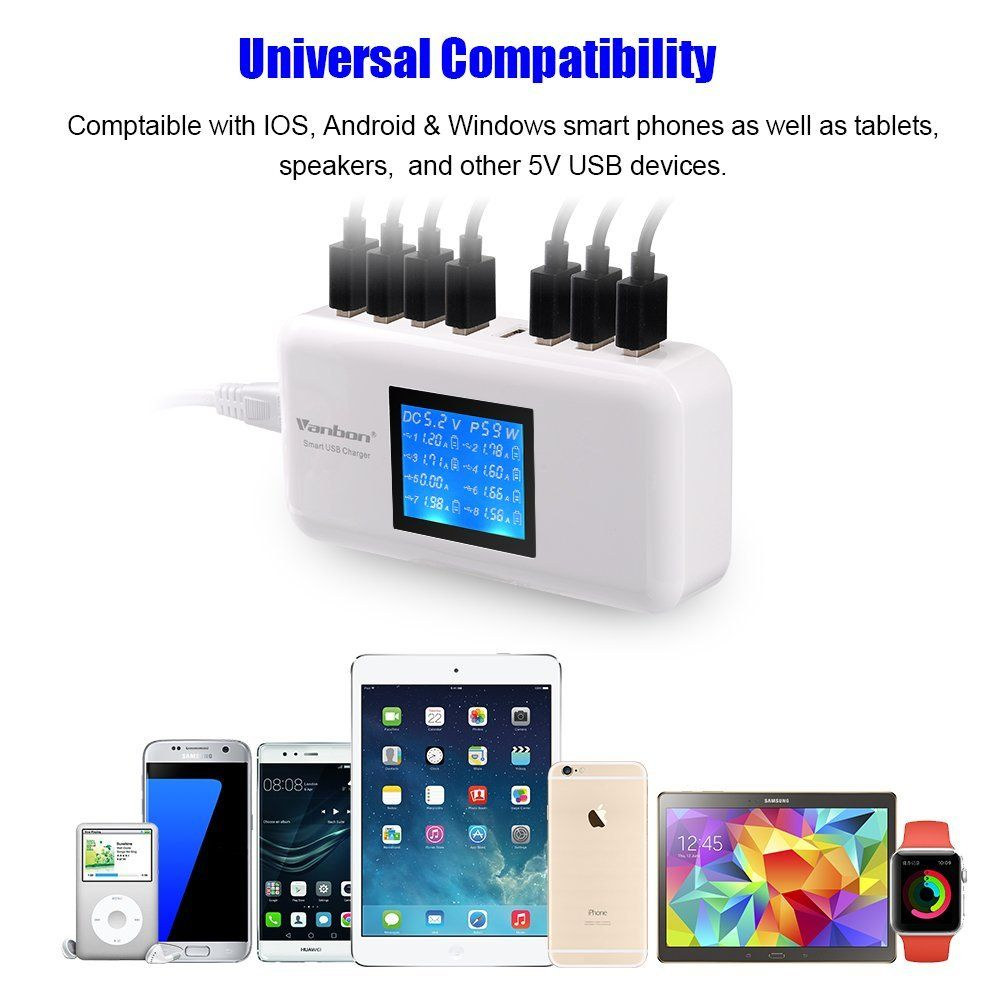 Amazon Com Multiple Usb Charger 60w 12a 8 Port Desktop Charger Charging Station Multi Port Travel Fast Wall Charger Multiple Usb Charger Desktop Charger Usb