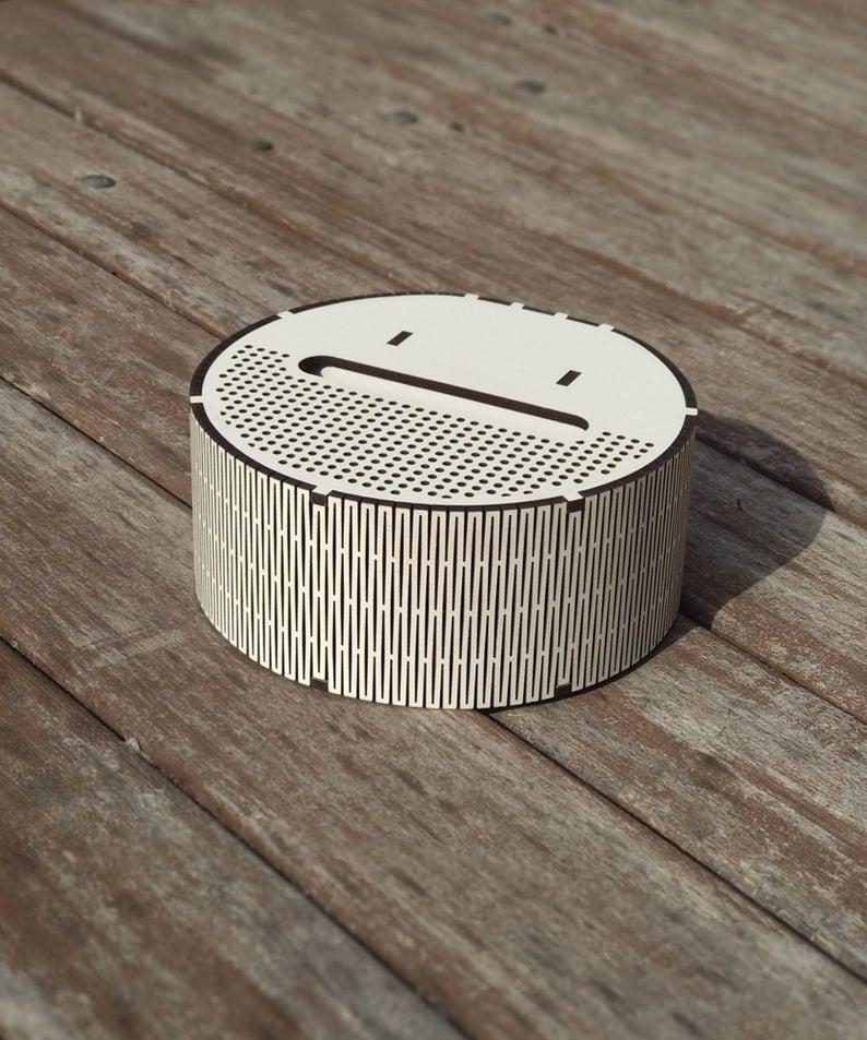White speaker Electronic item Portable speaker Techie gift Meloman gift Wooden speaker Wonderful holder Wireless speaker Personalized holder