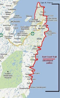 Map showing the location of the East Coast Trail. | Canada ... on newfoundland map, us coast map, northeastern us and canada map, midwest canada map, coast of eastern states map, east coastal weather forecast, texas gulf coast hurricane map, lake of the woods canada map, west coast road map, coastal plains india map, bay of fundy canada map, south east queensland australia map, nova scotia map, map us and canada map, canada highway map, vancouver map, atlantic canada map, british columbia map, pacific northwest canada map, east canada ski map,