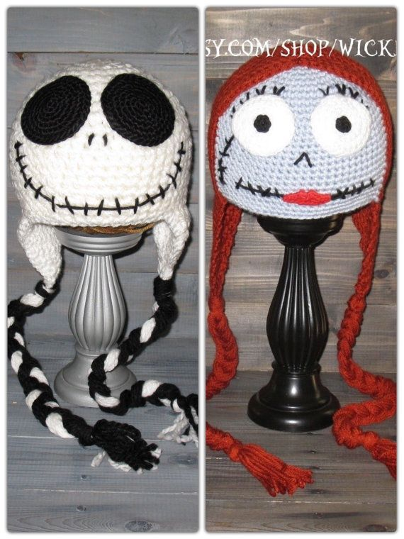 Adult Jack Skellington Nightmare Before Christmas Crochet Hat With