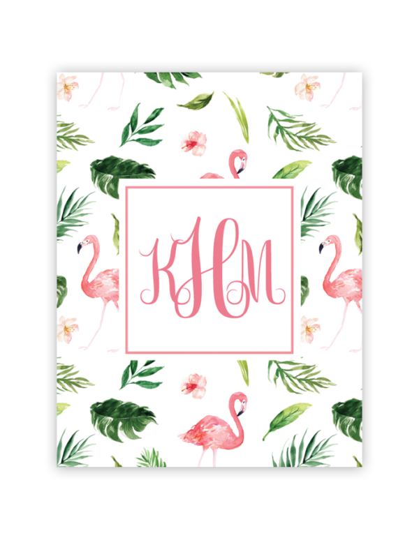 photograph relating to Printable Flamingo Template titled Flamingo Tropical Monogram No cost Binder Addresses Templates