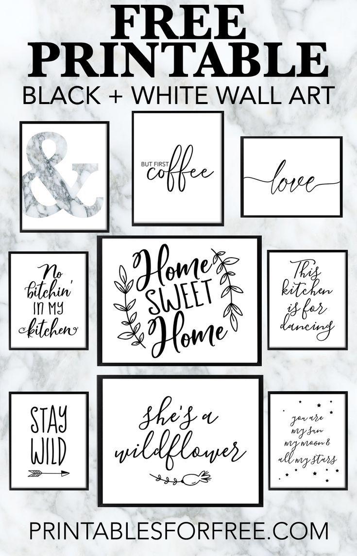 Free Printable Black and White Wall Art - download... - #Art #Black #Download #FREE #homedecor #PRINTABLE #Wall #White #allwhiteroom