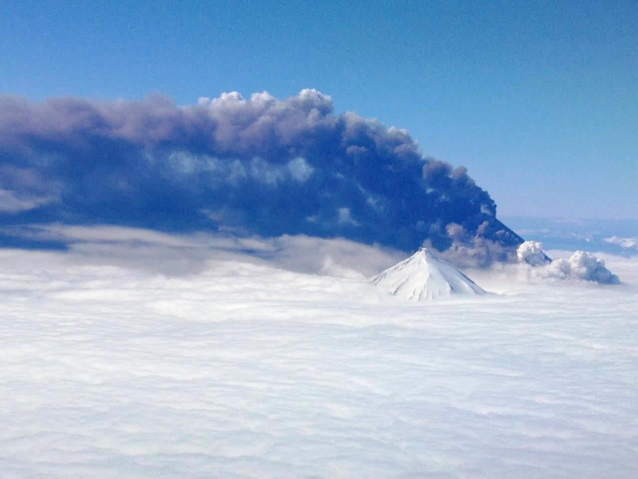An image of a snow-covered volcano erupting into the white clouds - one natural hazard the U.S. Geological Survey is using to get out the word during National Preparedness Month.
