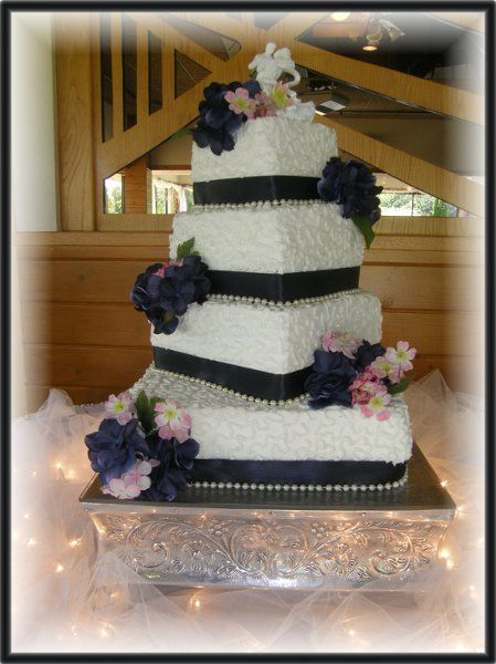 Blue Pink White Square Wedding Cakes Photos Pictures
