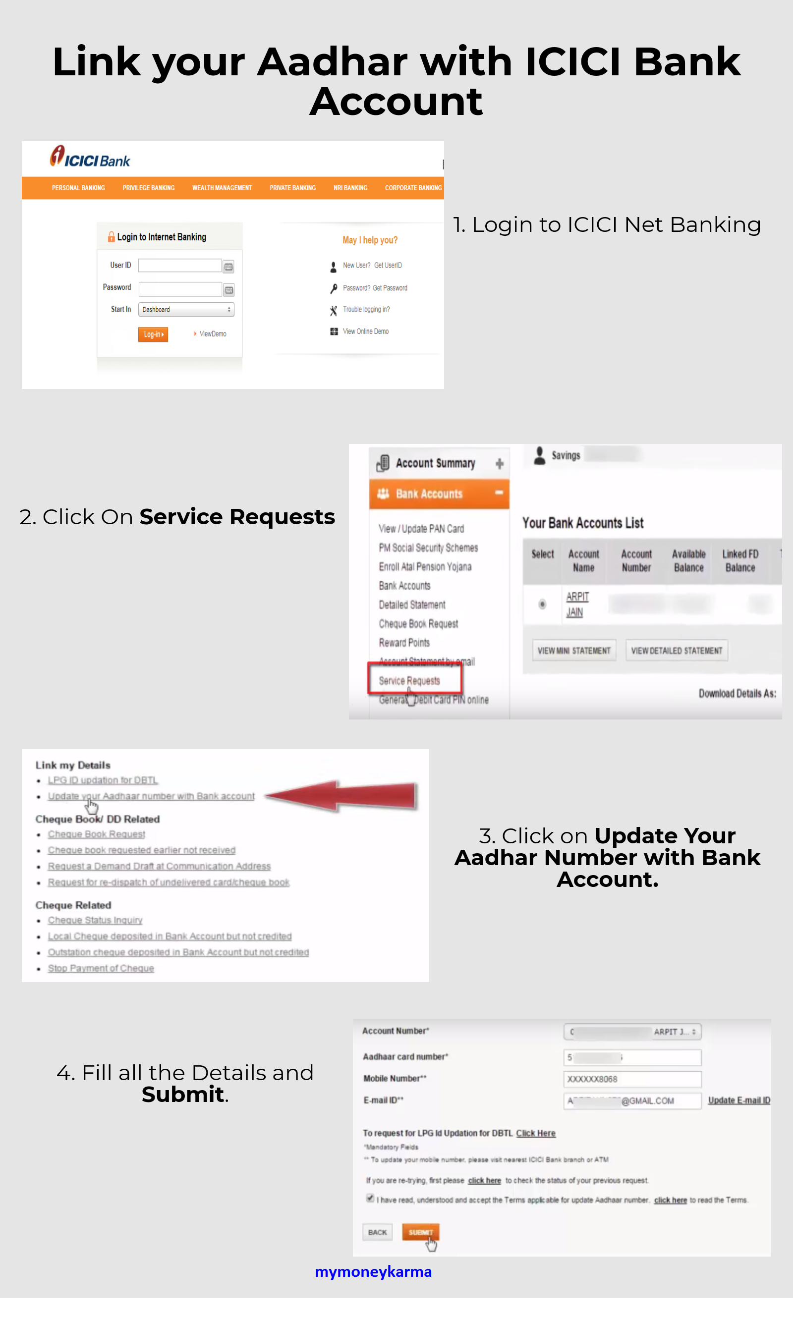 Login To Icici Net Banking And Link Your Aadhar Number With Icici Bank And Mymoneykarma Helps You To View Transacti Banking Managing Your Money Savings Account