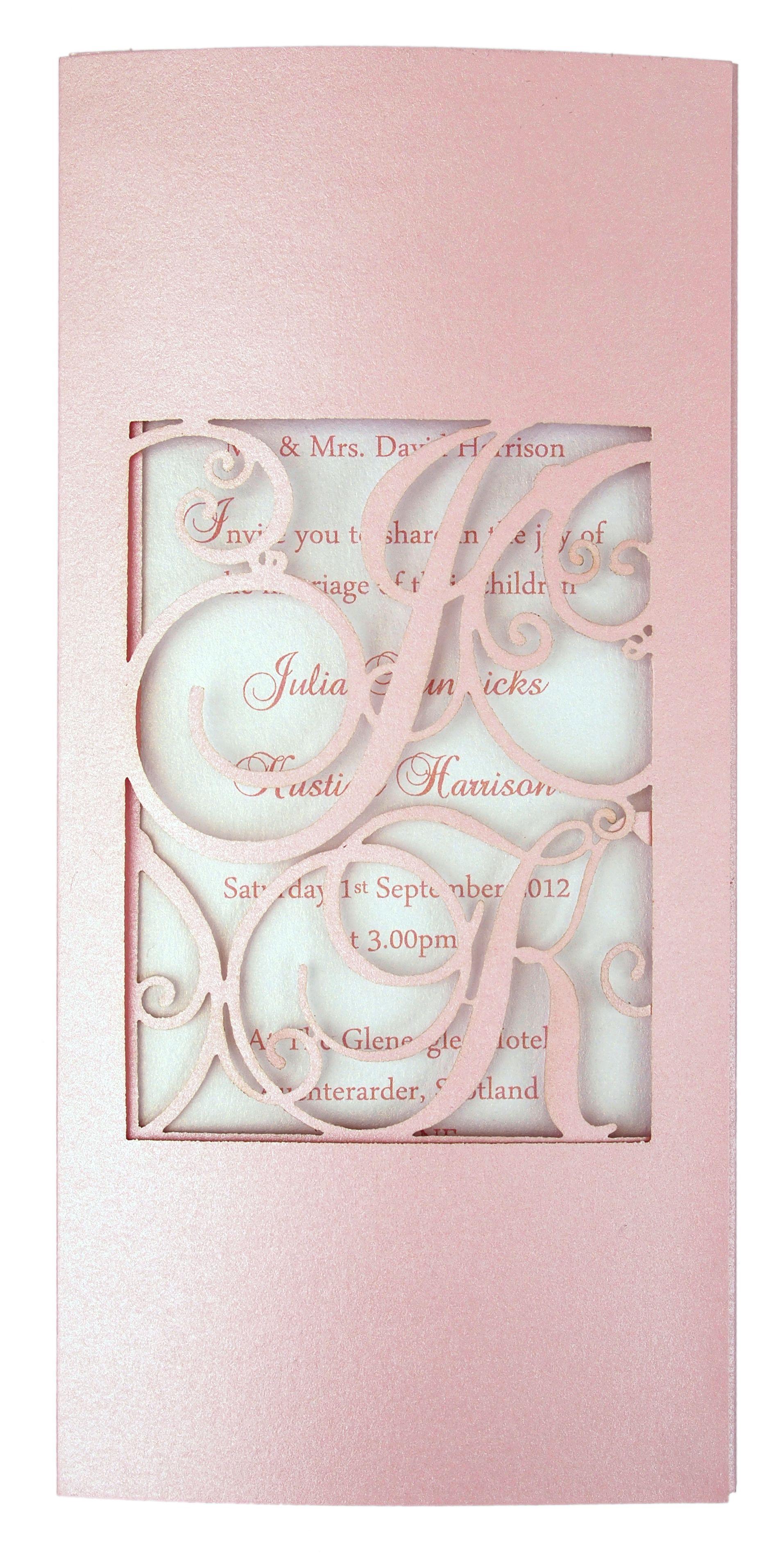 Monogram laser-cut invitations in pink www.intricatecreations.co.uk