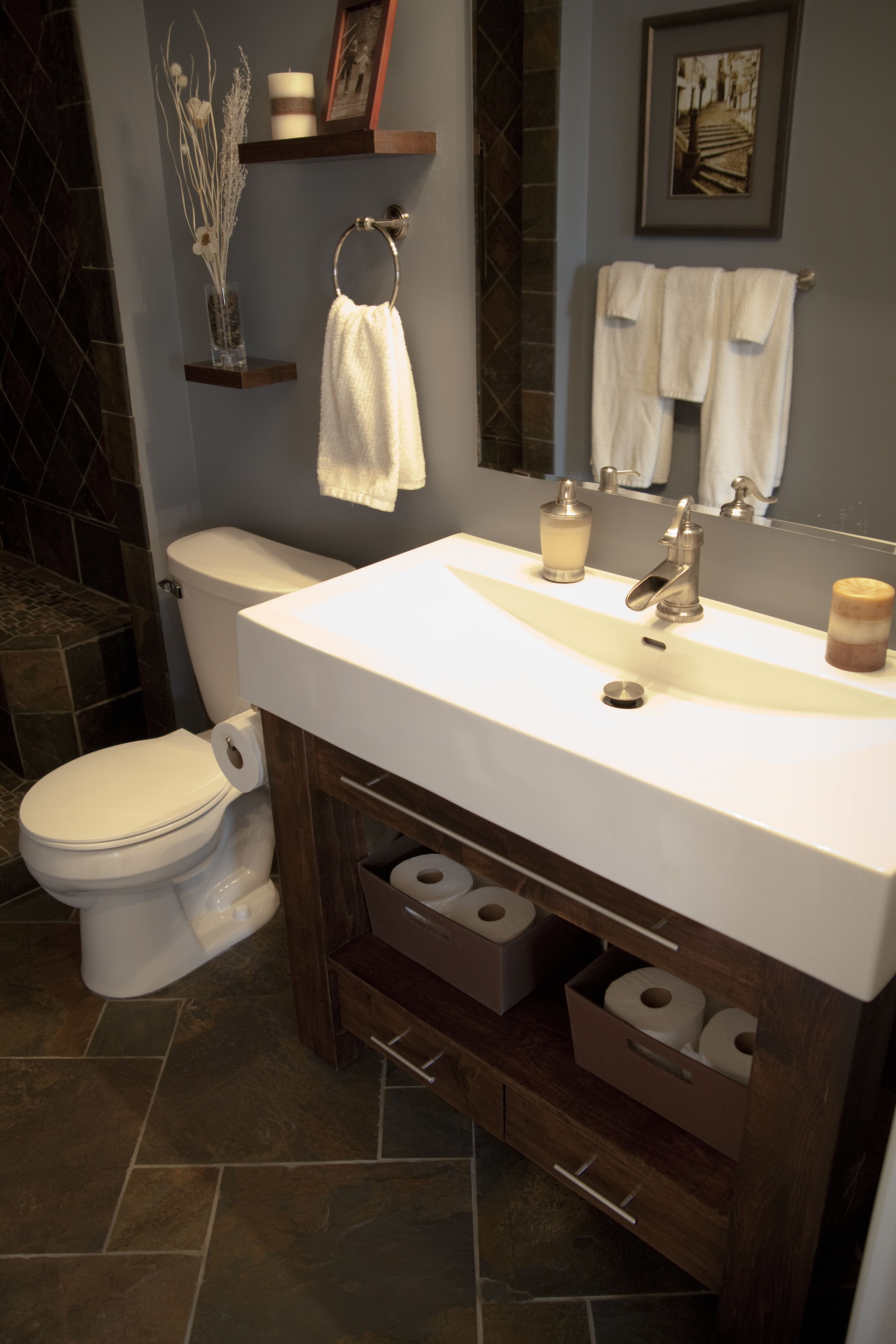 Slate Bathroom With White Vanity This Is Going To Be My