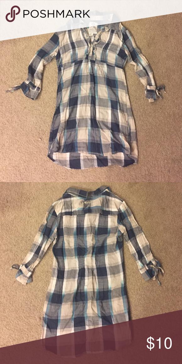 Plaid tunic Blue, white and gray plaid 3/4 length sleeves tunic Life Through Basics Tops Tunics