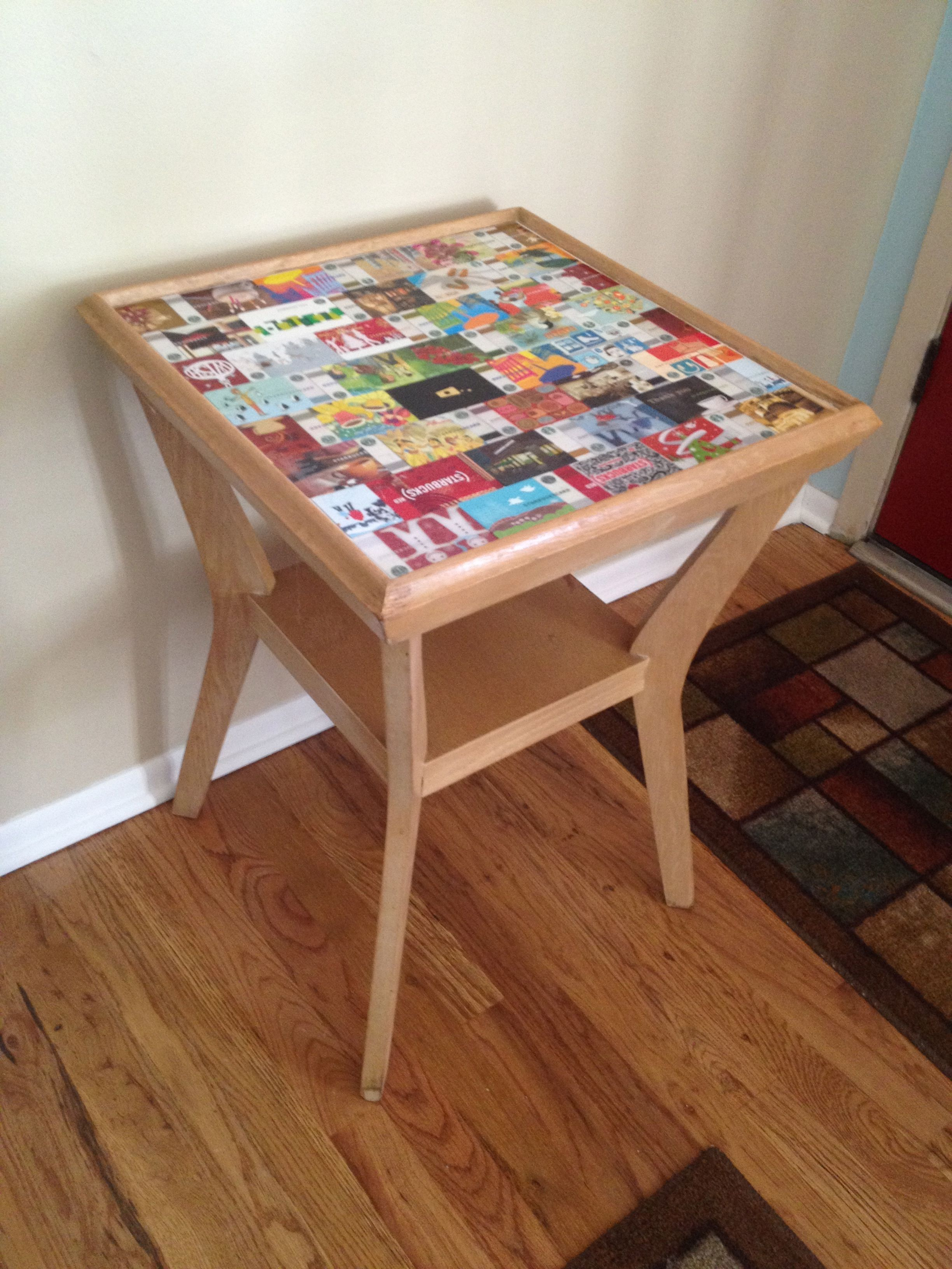 Mid century starbucks table top was lost to water damage