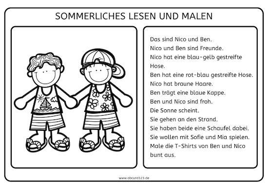 sommerliches lesen und malen lesen freebie german deutsch lernen deutsch lesen und lesen. Black Bedroom Furniture Sets. Home Design Ideas