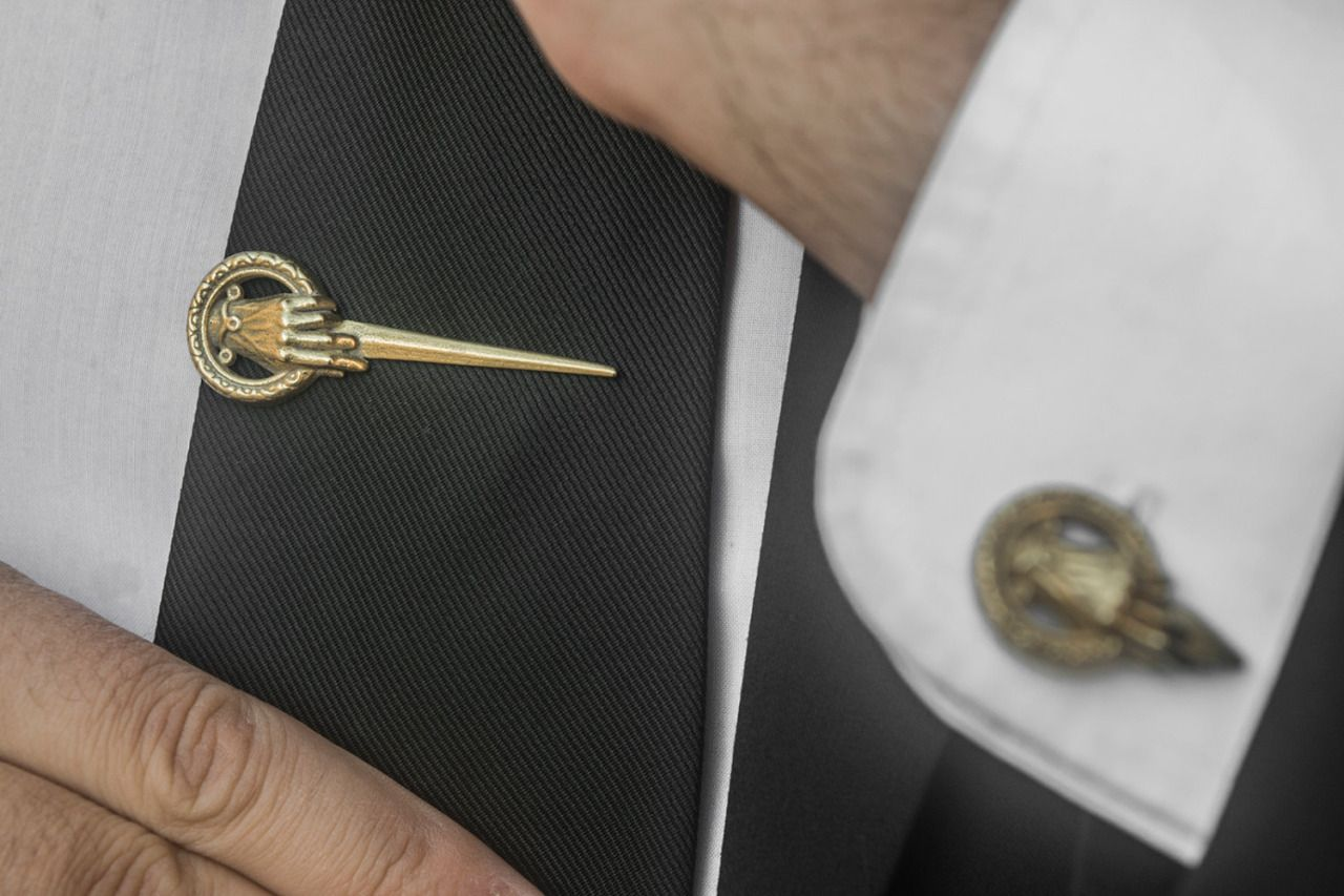 Cool Hand of the King Tie Clip in Golden Brass by SanSanAtelier for orders, click here