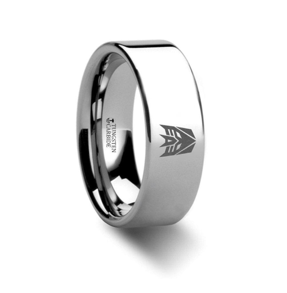 Decepticon Transformers Movie Symbol Super Hero Tungsten Engraved Ring Jewelry 8mm This Is A: Nightwing Symbol Wedding Rings At Reisefeber.org