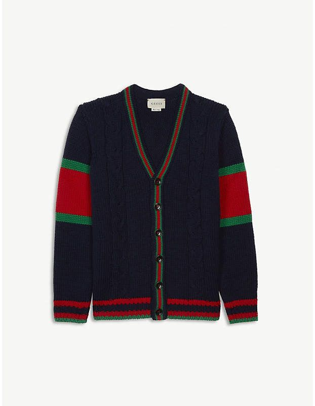 80d5a67ef03 GUCCI Cable-knit wool cardigan 4-12 years in 2019 | 毛衫儿 | Wool ...