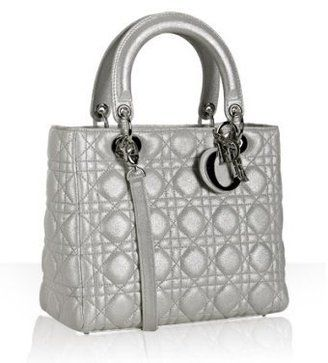 3d530811a3c ShopStyle: Christian Dior silver goatskin cannage small tote | Bags ...