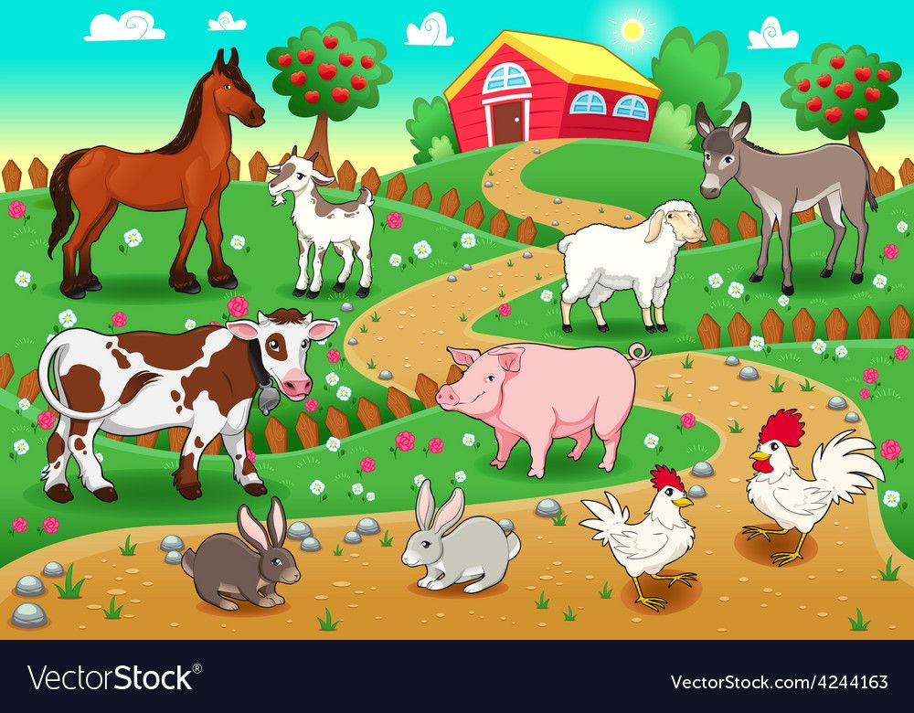 Farm Animals With Background Vector Image On Animal Pictures For Kids Farm Animals Animal Illustration