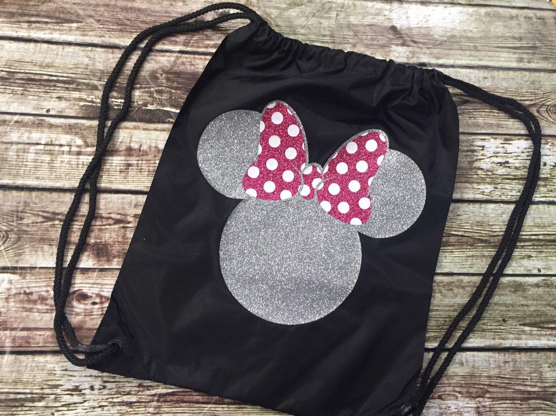 Drawsting Disney Minnie Backpack - Disney Personalized - Disney Trip -  Family Bag 6fa73ed30249f