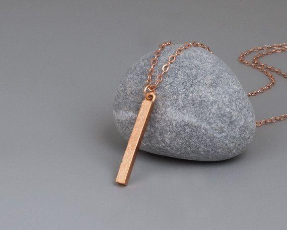 Rose Gold Bar Necklace, Vertical Bar Necklace, Layered Necklace, Tiny Bar Necklace, Minimal Bar Necklace, Rose Gold Necklace, Delicate Bar