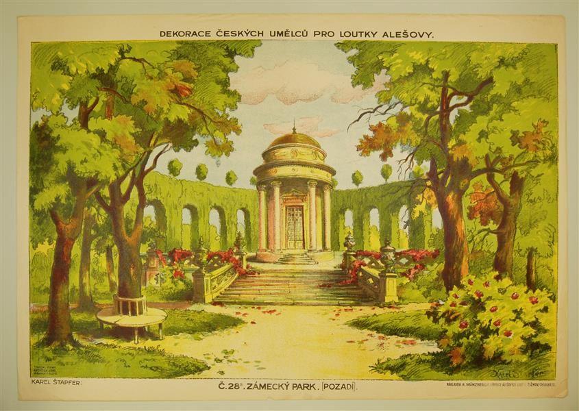Dekorace ceských Umelcu pro Loutky Alesovy. C. 28a. Zámecký Park. [Pozadí]. (Tschech. Künstlerdekorationen für Ales-Puppen. Nr. 28a. Schlosspark [Hintergrund].).