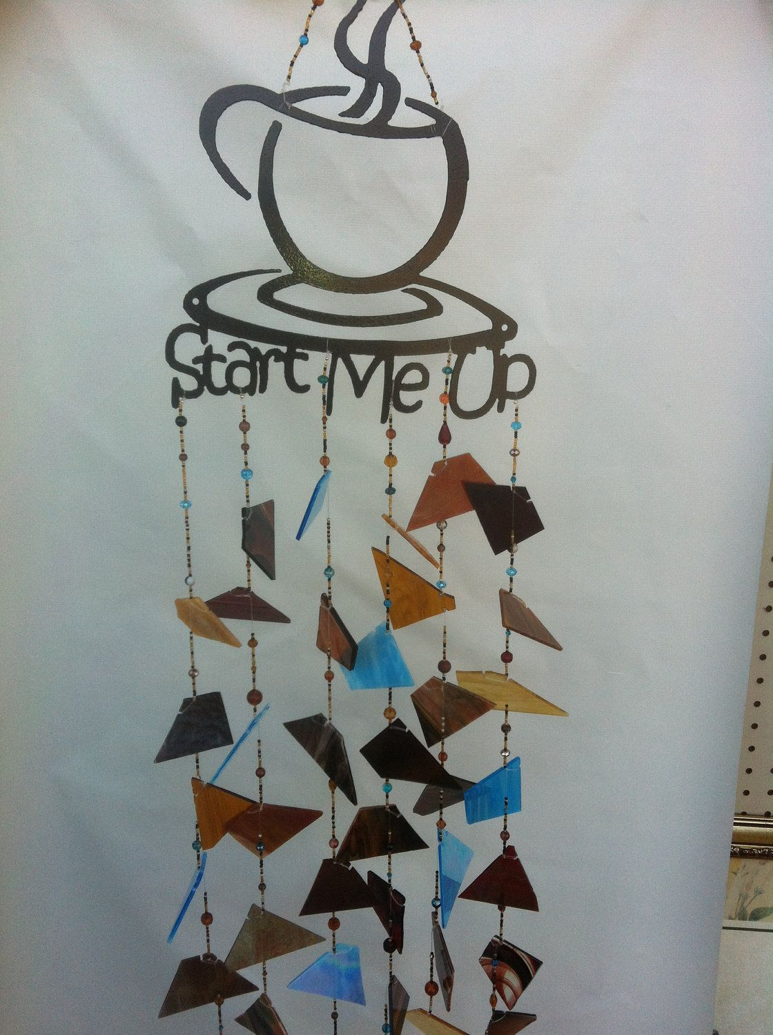 Stained Glass Wind Chime with metal coffee cup Glass