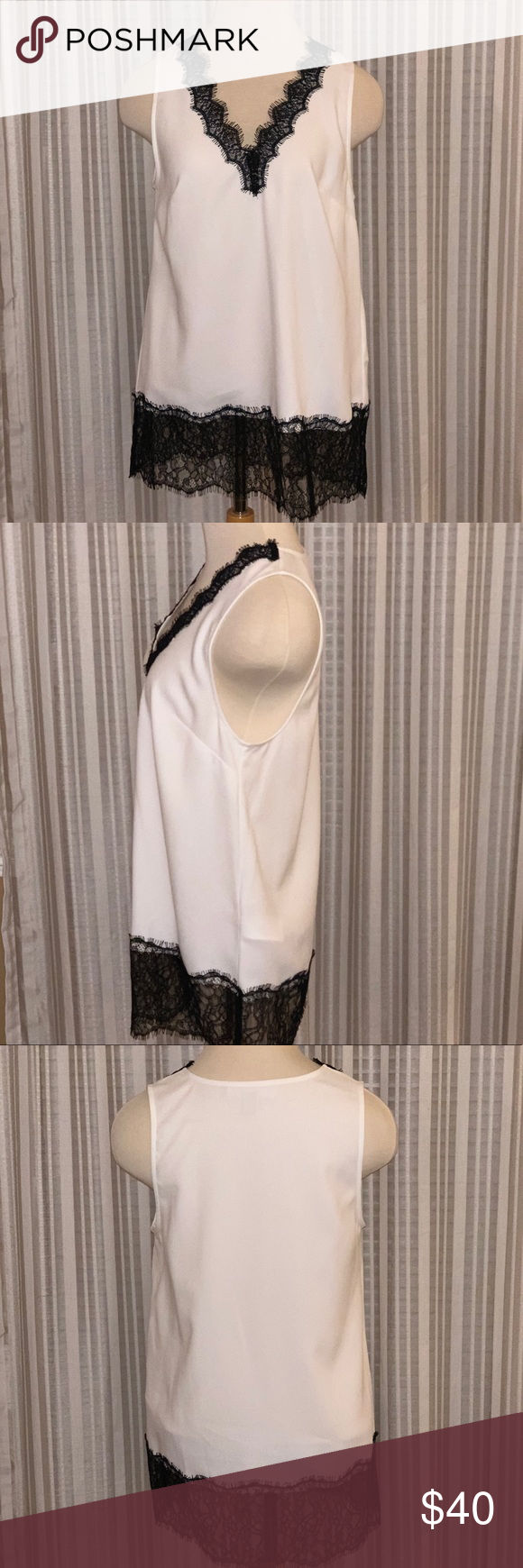 Nwot Michael Kors Tank Sleeveless White Silky Tank With Black Lacy Accents Dress Me Up Or Down Michael Kors Tops Tank Fashion Michael Kors Tops Dress Me Up [ 1740 x 580 Pixel ]