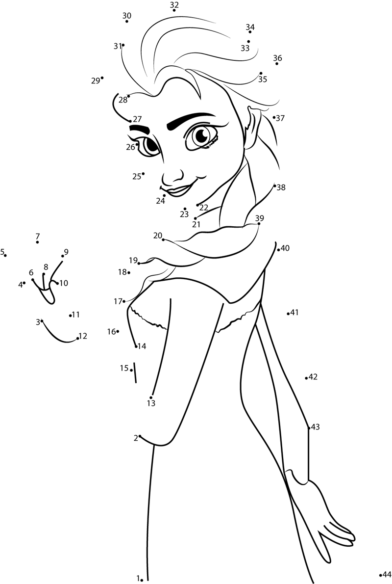 Elsa Frozen dot to dot Printable