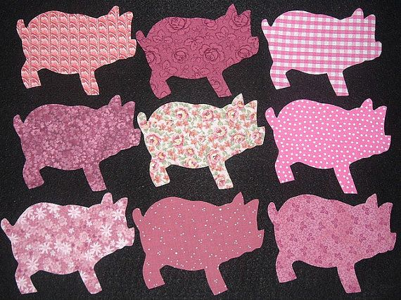 9 Easy to Use Pink Pig Fabric Appliques, Just by MarsyesQuiltShop ...