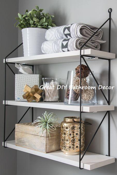 Different And Unique Ways To Decorate Bathroom Diybathroom Modern Powder Rooms Decor Room Shelves