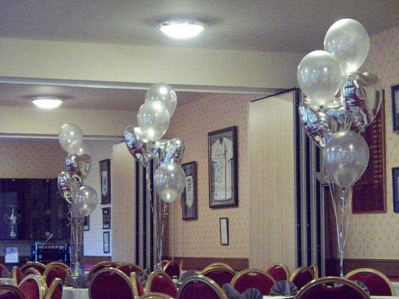 25th wedding anniversary balloons three latex and two for Decoration 25th wedding anniversary