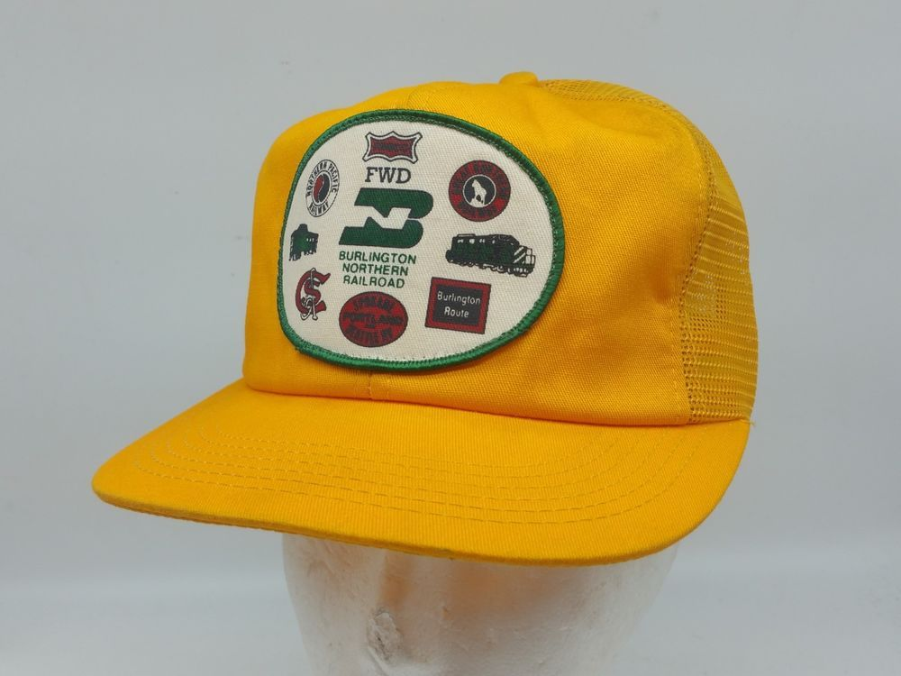 K Products USA Train Burlington Northern Railroad Patch Yellow Mesh  Snapback Hat  KProducts  TruckerHat 4f9a3db8b35a