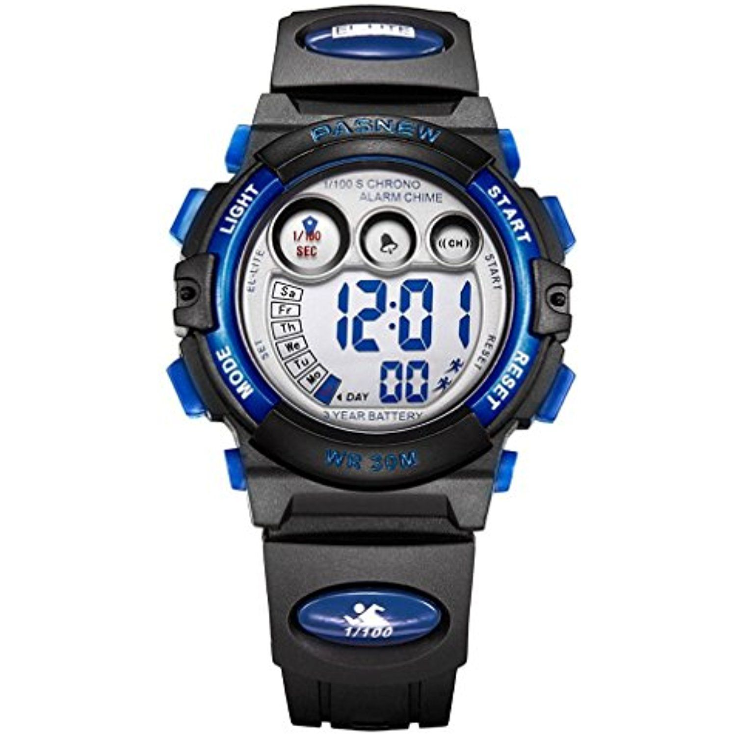 electronic outside watch sports boy led digital girls with children pin blue watches multifunctional for waterproof black