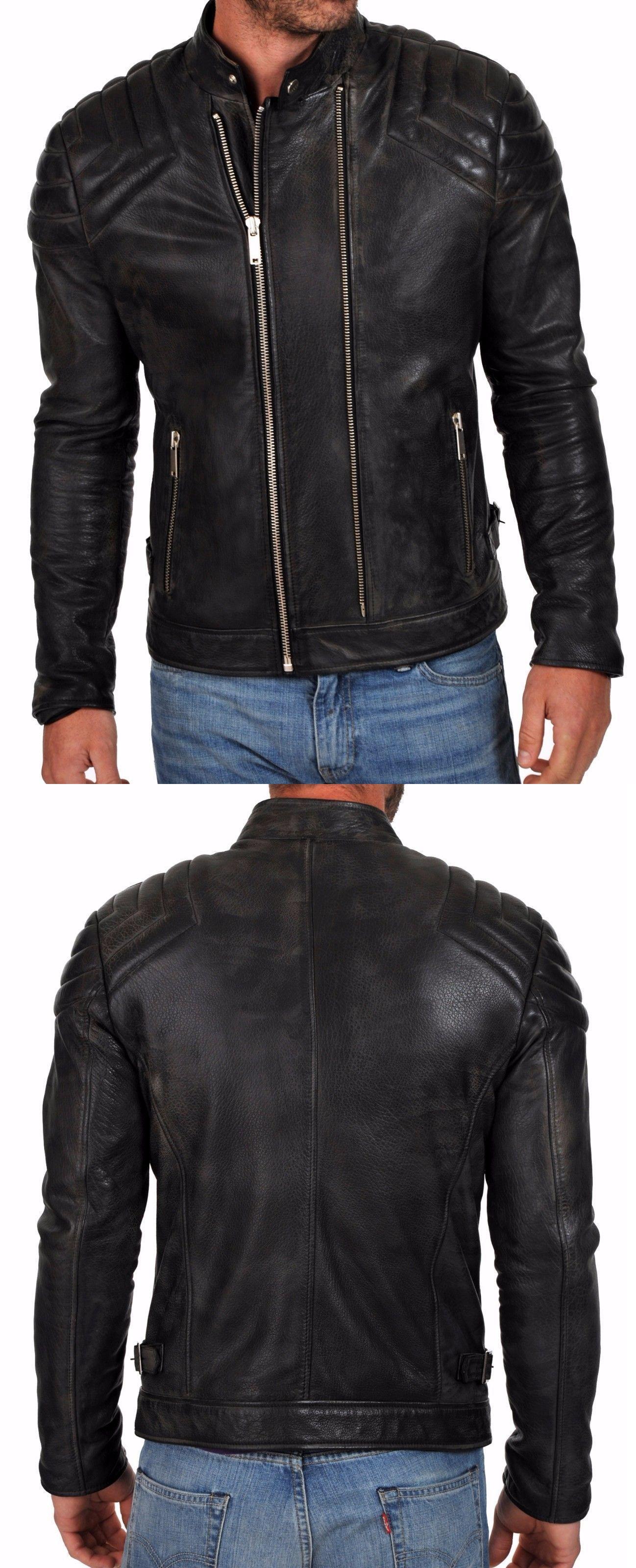 Men Moto Cow Hide Motorcycle Real Leather Jacket C104