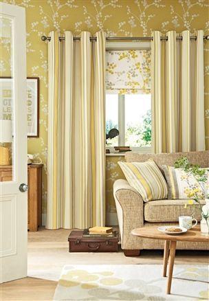 NEXT Ochre wallpaper (greener than shown) Living room feature wall ...