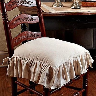 New French Country Shabby Chic Flax Tan Ruffled Chair Pad Cushion