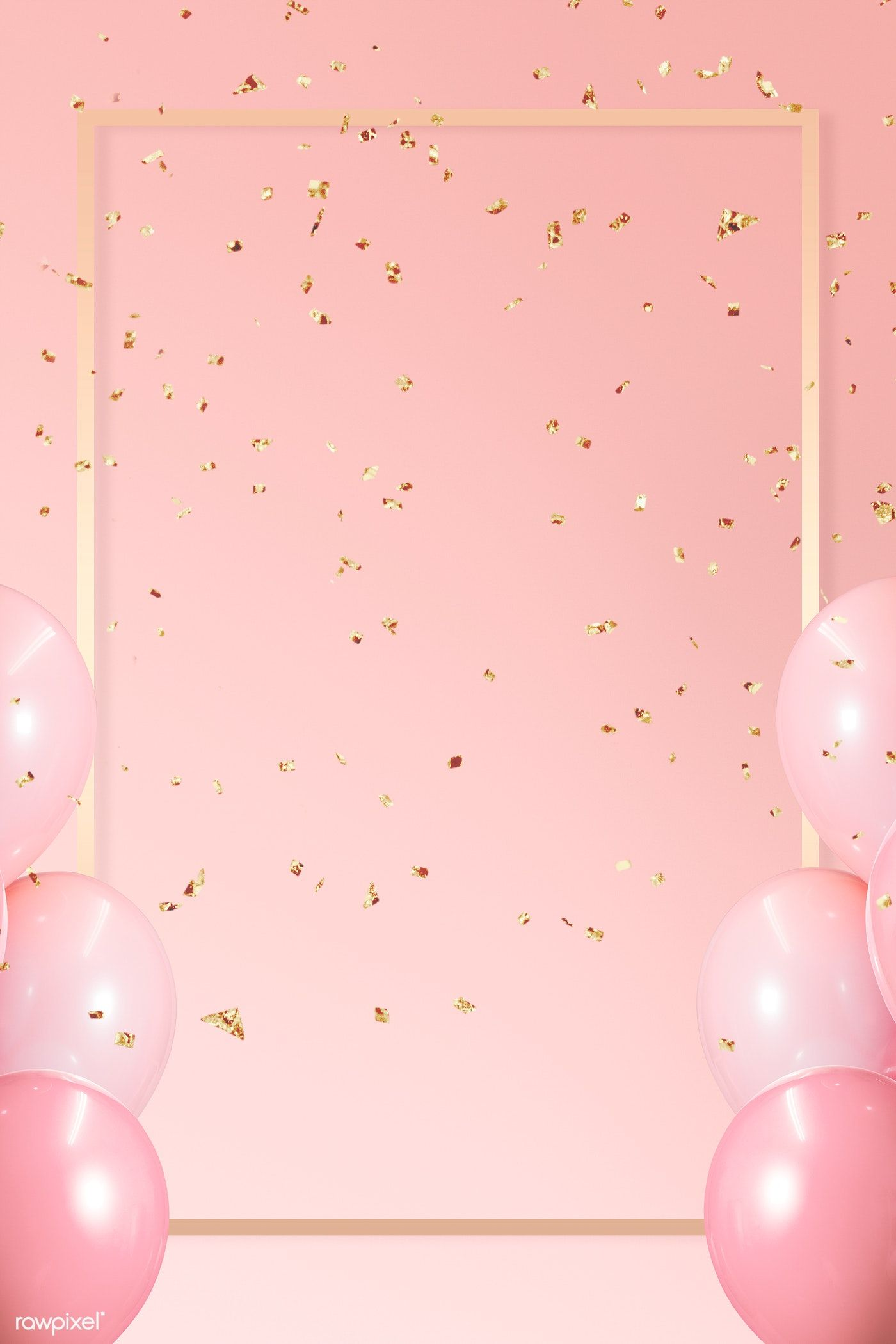 Download Premium Illustration Of Golden Frame Balloons On A Pink Pink Background Birthday Background Wallpaper Happy Birthday Wallpaper